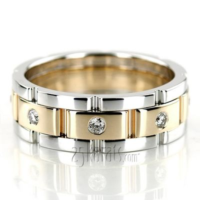 14K Gold Rolex Style Round Diamond Wedding Ring Dw