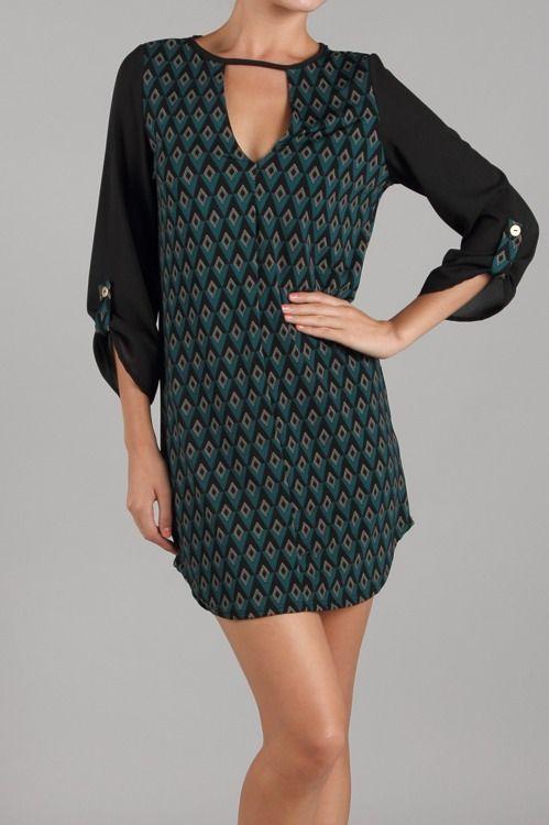 Teal/black peacock tunic dress