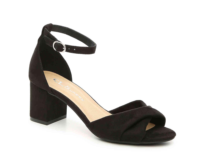Cl By Laundry Joslyn Sandal Black Heels Low Women Shoes Womens Black Dress [ 1125 x 1500 Pixel ]
