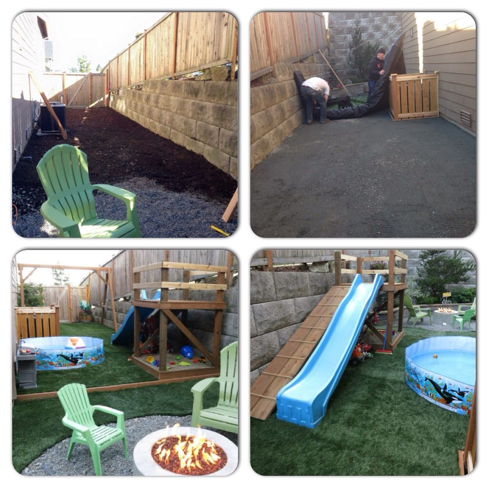 before and after small back yard and side yard re do for kids