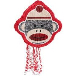 Sock Monkey Red - Pull-String Pinata