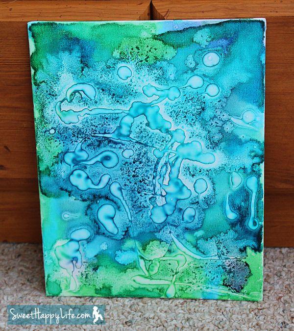 kunst in der grundschule kunstwerk gemalt mit wasserfarben salz und kleber kunst grundschule. Black Bedroom Furniture Sets. Home Design Ideas