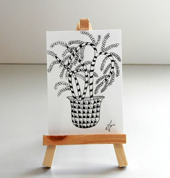 THE POTTED PLANT Pen and Ink Abstract Zentangle by MyHumbleJumble, $7.50
