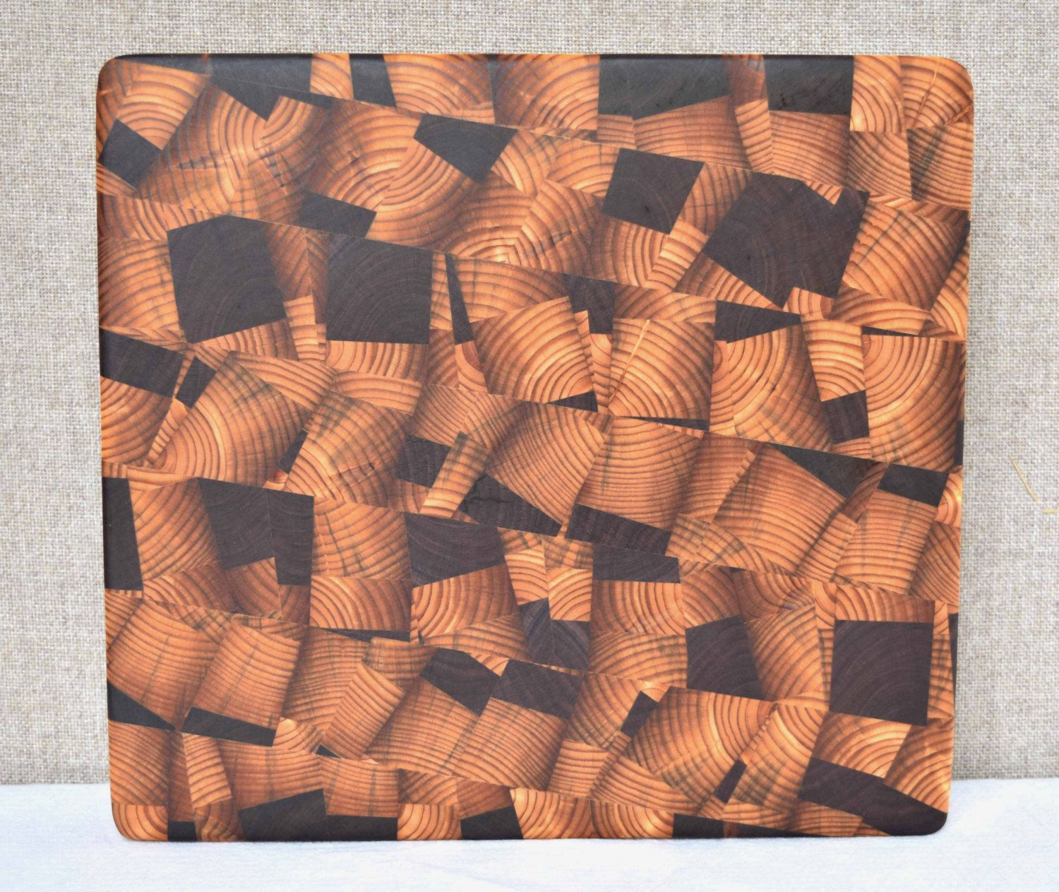 Cutting / Serving Board - End Grain Reclaimed Old Growth Red Pine & Walnut by CuttingBoardpro on Etsy