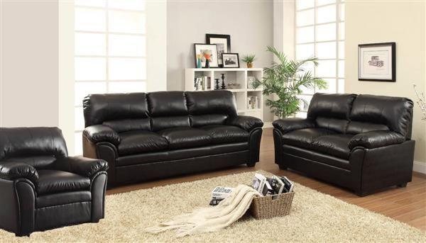 Talon Transitional Black Taupe Bonded Leather Living Room Set
