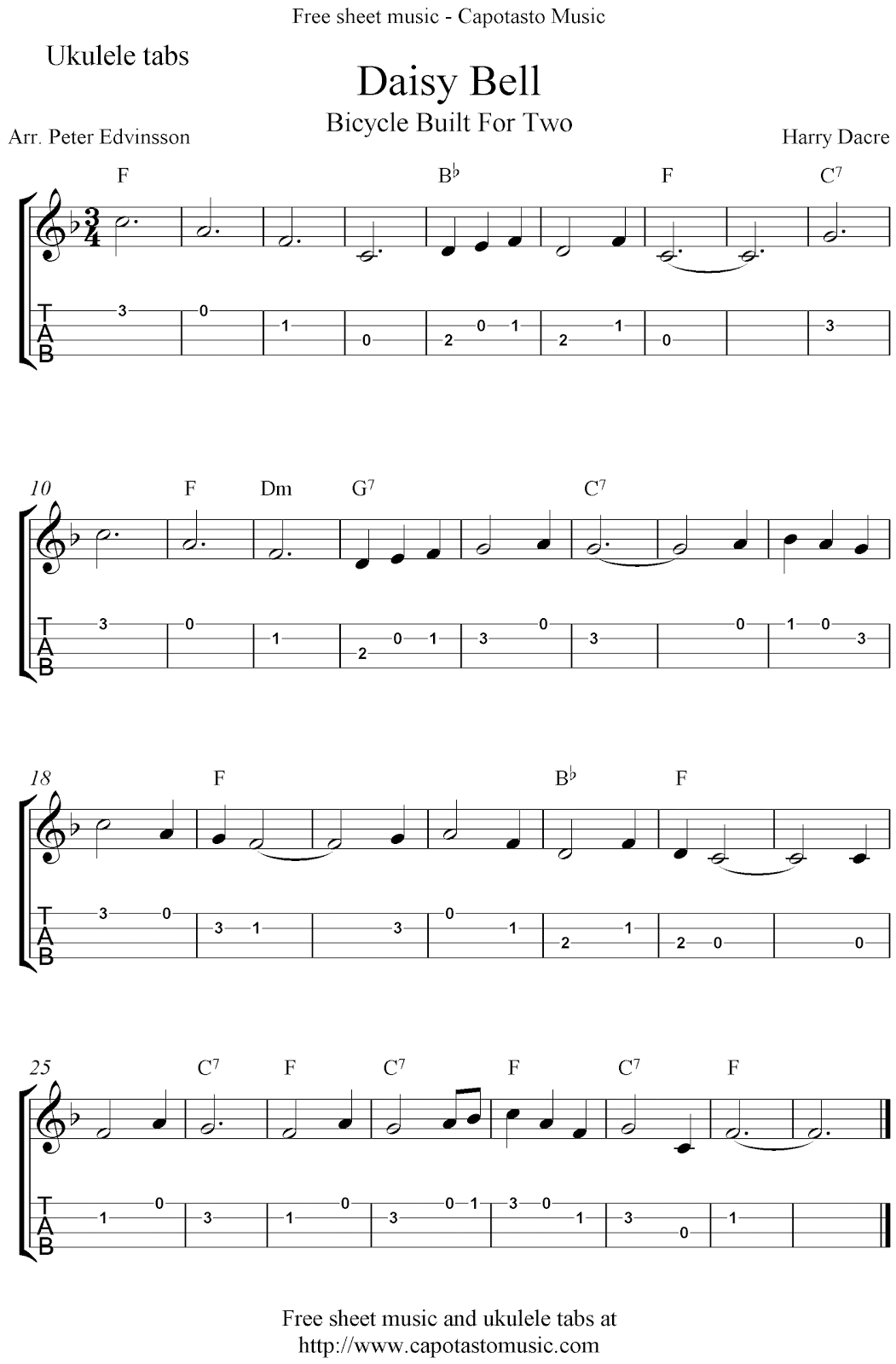 Free Printable Sheet Music Daisy Bell Bicycle Built For