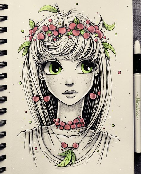 Cherry Girl By Natalico Drawings Sketches Art Drawings