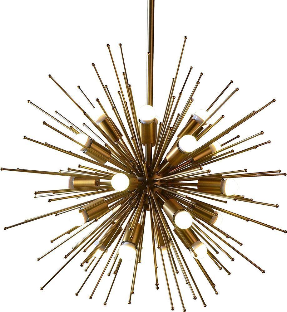 Brass Metal Sputnik Urchin Satellite Chandelier Light Fixture Modern #Unbranded