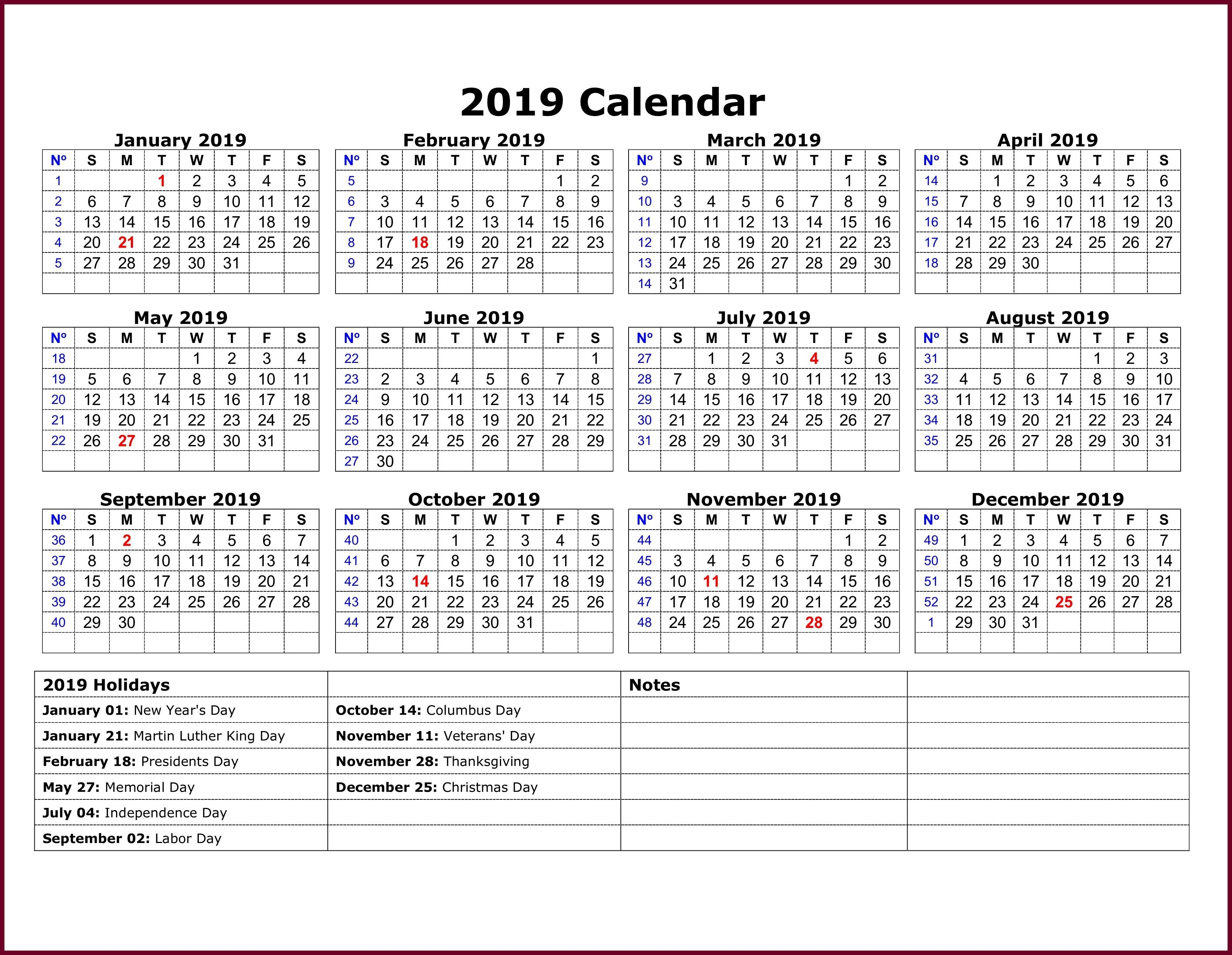 Calendar 2019 Template Excel 2019 Calendar Template In One Pages