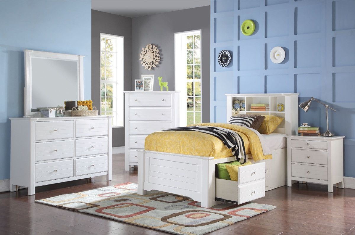 Acme mallowsea twin bed wstorage rail white t twin beds
