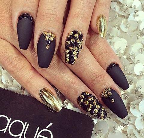 Matte Black Gold Foil Black And Gold Rhinestones Black Gold Nails Laque Nail Bar Matte Nails