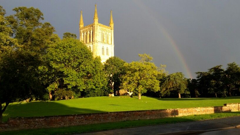 Pershore Abbey, Worcester- under a rainbow