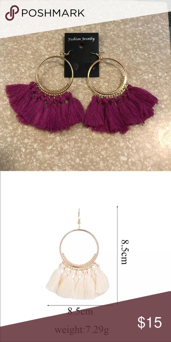 Tassel hoop earrings These tassel hoop earrings are