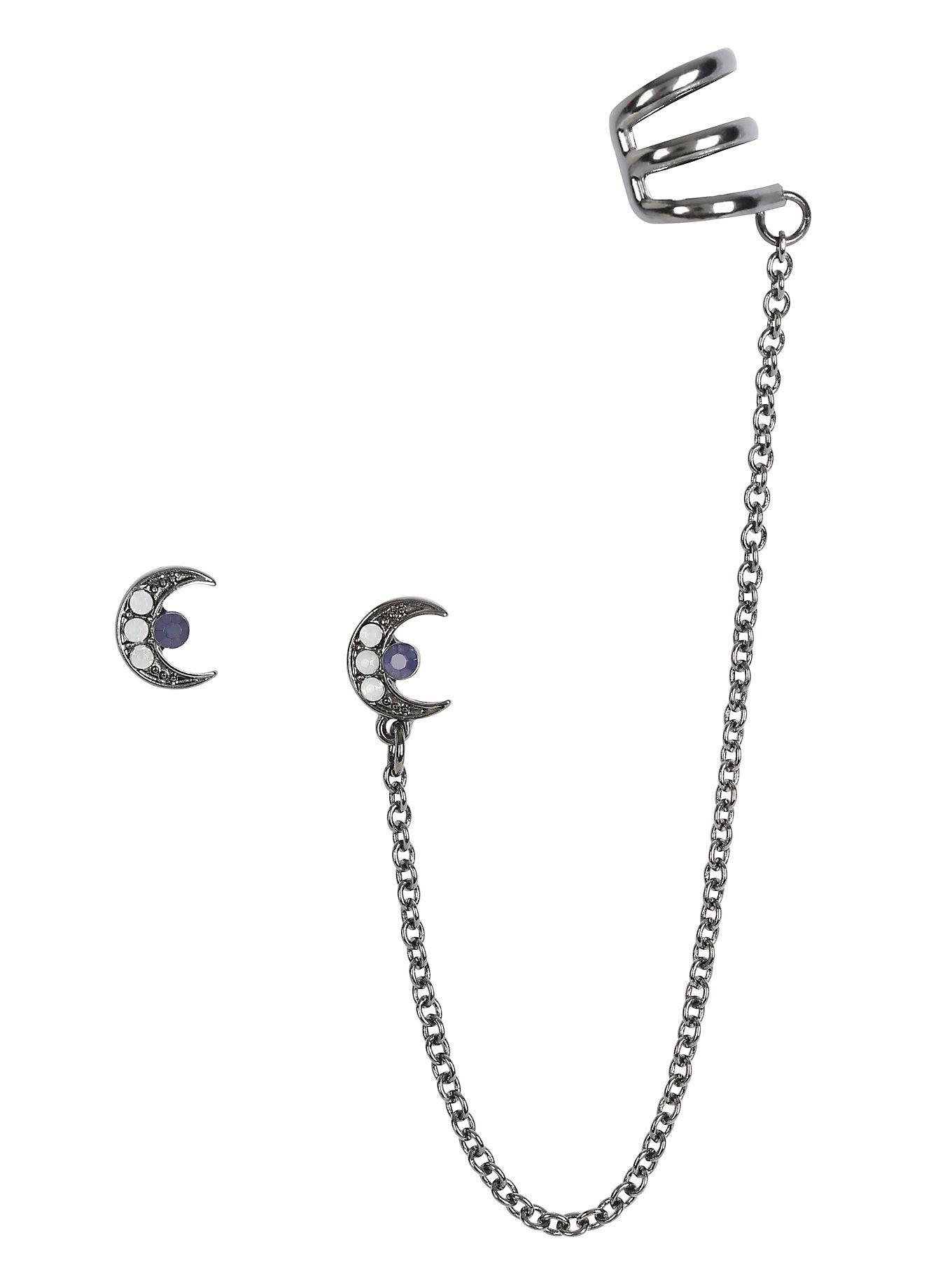 Hemae Half Moon Stud Cuff Earrings Hot Topic