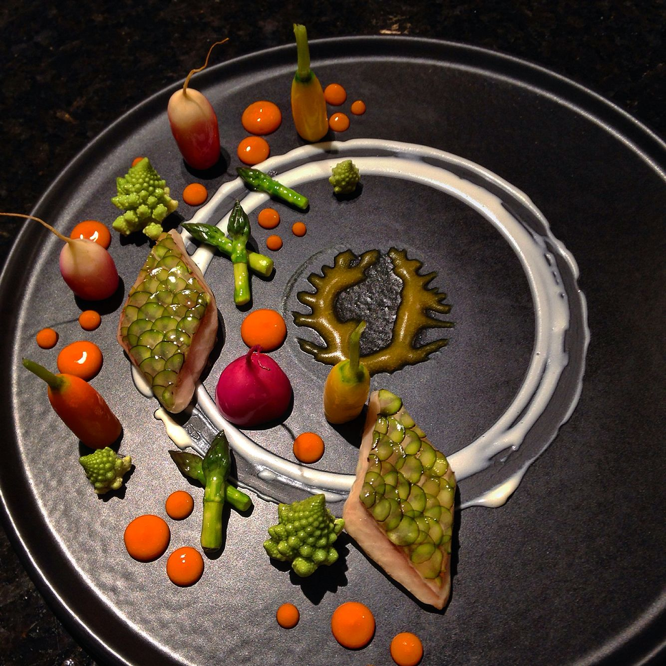 Ocean perch, carrot gel, fennel purée, and assorted vegetables.