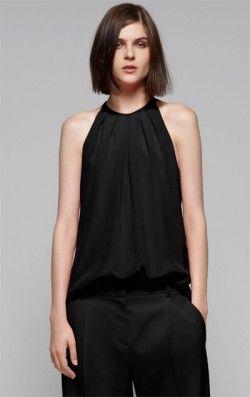 0e89b1f14fc Черная шелковая блузка без рукавов