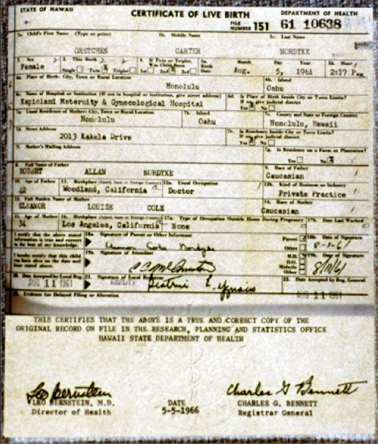 A Real Birth Certificate From Hawaii Very Close In Number To The