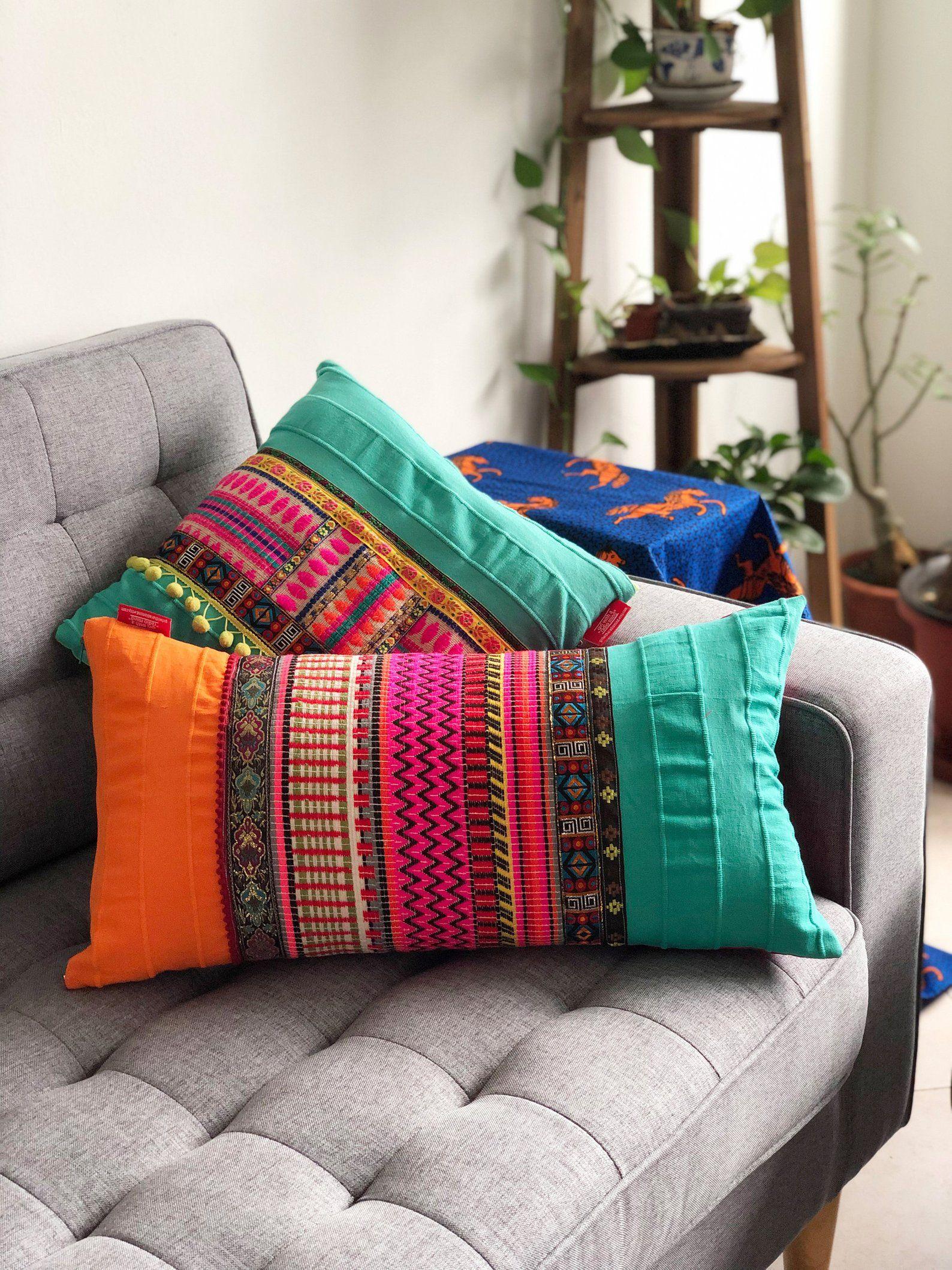 Boho Lumbar Throw Pillow Cover Bohemian Mexican Style Zigzag Lumbar Throw Pillow Throw Pillows Throw Pillow Covers
