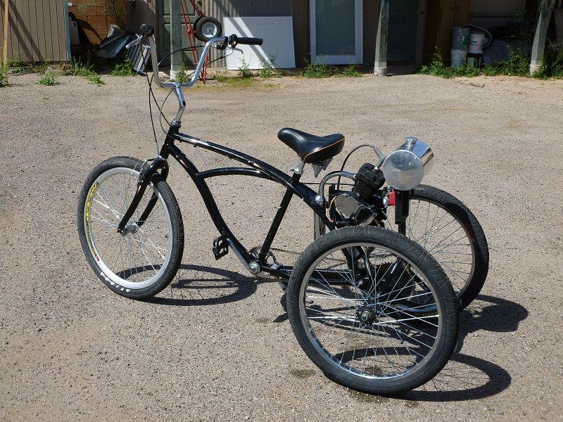 Diy Motorized Three Wheeler Bicycle Powered Bicycle Gas Powered