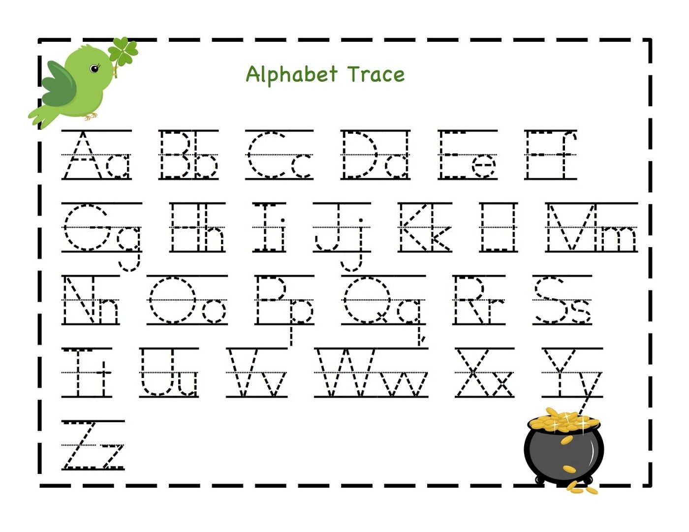 free printable alphabet letter tracing worksheets kindergarten alphabet worksheets trace letter - Fun Printable Worksheets For Kids