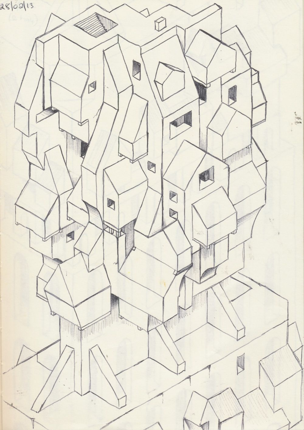 My first real isometric drawing using a black pen----Ang ...