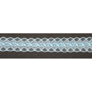 "Flat Lace 5/8"" White & Blue Poly 10 Yards - PATCHWORK PANDA LLC"