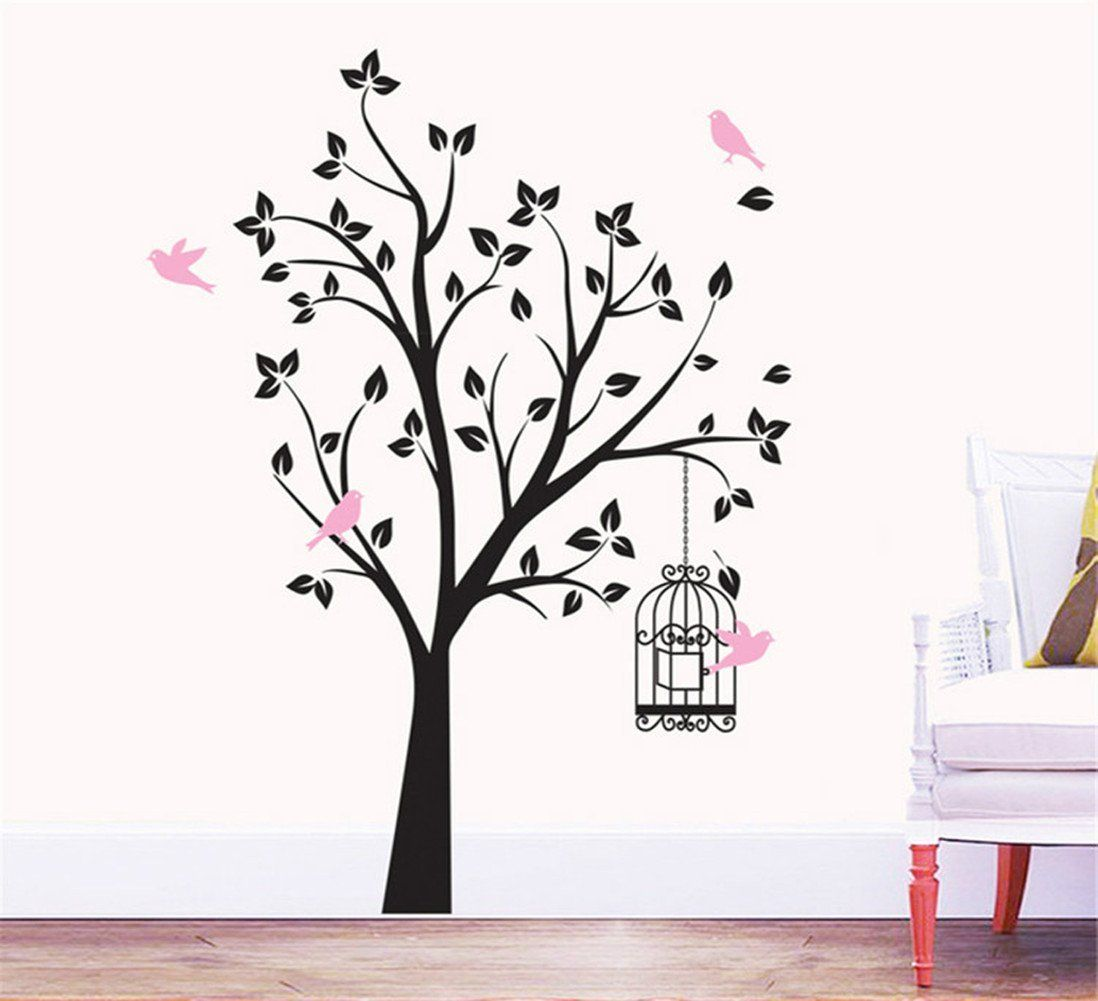 Wooow wonderful tree with birdcage and flying birds removable vinyl