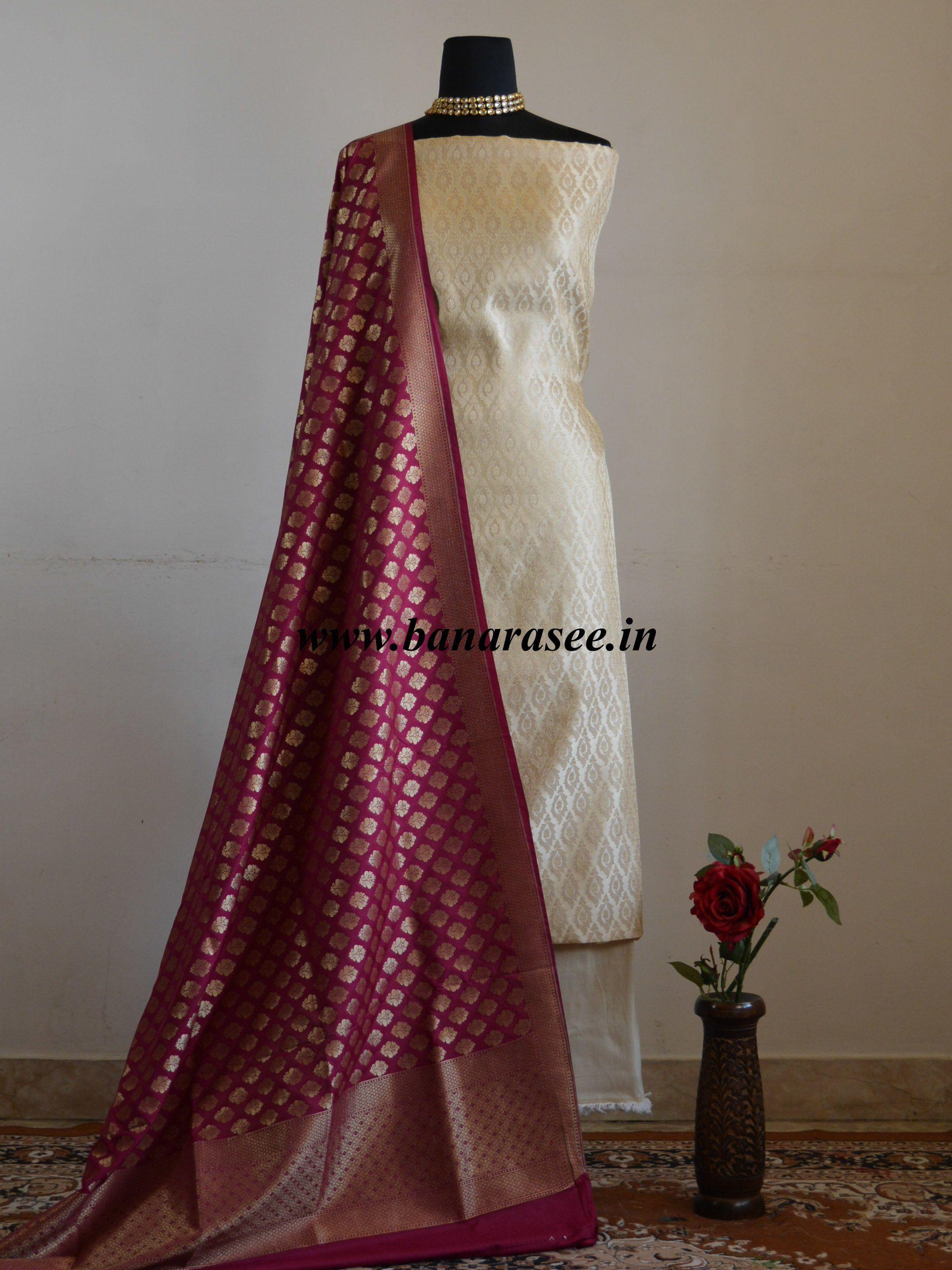 978e6150e2 Banarasee Satin Brocade Salwar Kameez Fabric With Wine Art Silk  Dupatta-Off-White