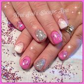 Photo of Pink White and Silver by TraiSeasEscape from Nail Art Gallery