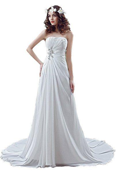 Ivydressing Damen Einfach Schleppe Traegerlos Brautkleid Abendkleid ...
