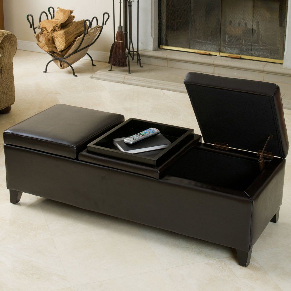 Harold Leather Storage Ottoman - Storage inside and a built-in tray on the outside - it doesnu0027t get much better than the Harold Leather Storage Ottoman . & Harold Leather Storage Ottoman - Storage inside and a built-in tray ...