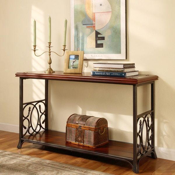 Kitchen Gt Scrolled Metal And Wood Sofa Table Consoles