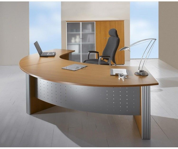 Direction Style Curved Executive Office Desk & Wood Return