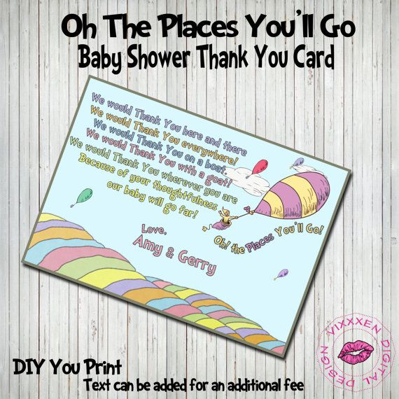 DR SEUSS Baby Shower Thank You card OhThe by VixxxenDigitalDesign - baby shower thank you notes