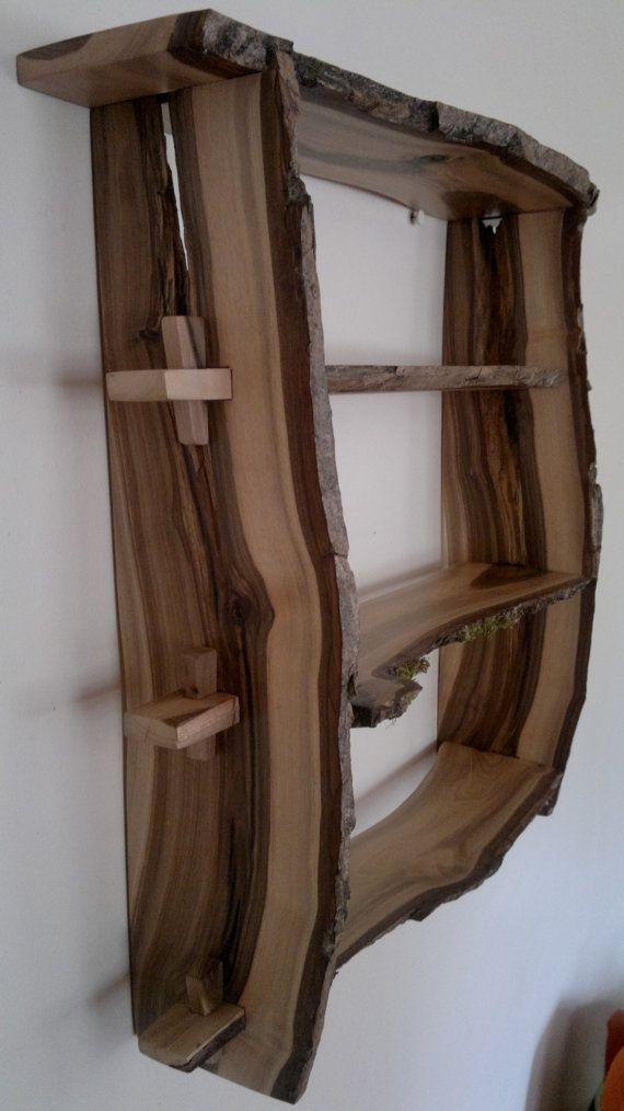 walnut wood shelves natural edge wall mounted handmade from rh pinterest com handmade wood bookshelf Wood Shelves Plans