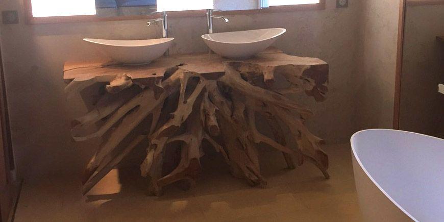 Console Meuble Sous Vasque Salle De Bain Original En Racine De Teck Massif Chez Une Meuble Sous Vasque Salle De Bains Meuble Bois Recycle Meuble Sous Vasque
