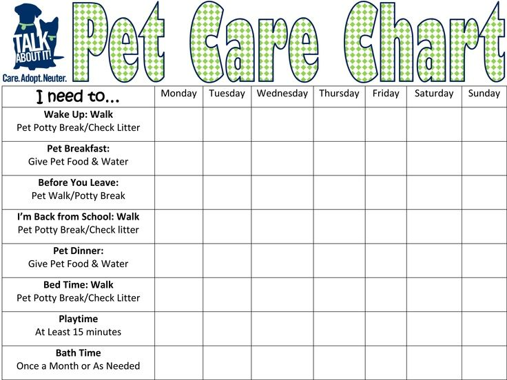 pet care requirement 5 keep a chart for two weeks listing all the required care you give to. Black Bedroom Furniture Sets. Home Design Ideas