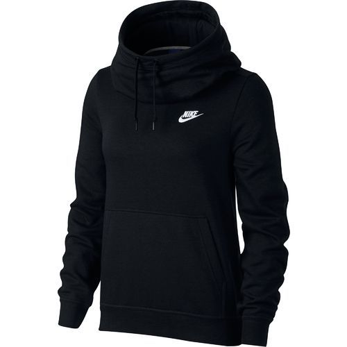 Nike Women's Sportswear Funnel Neck Hoodie (Black/White ...