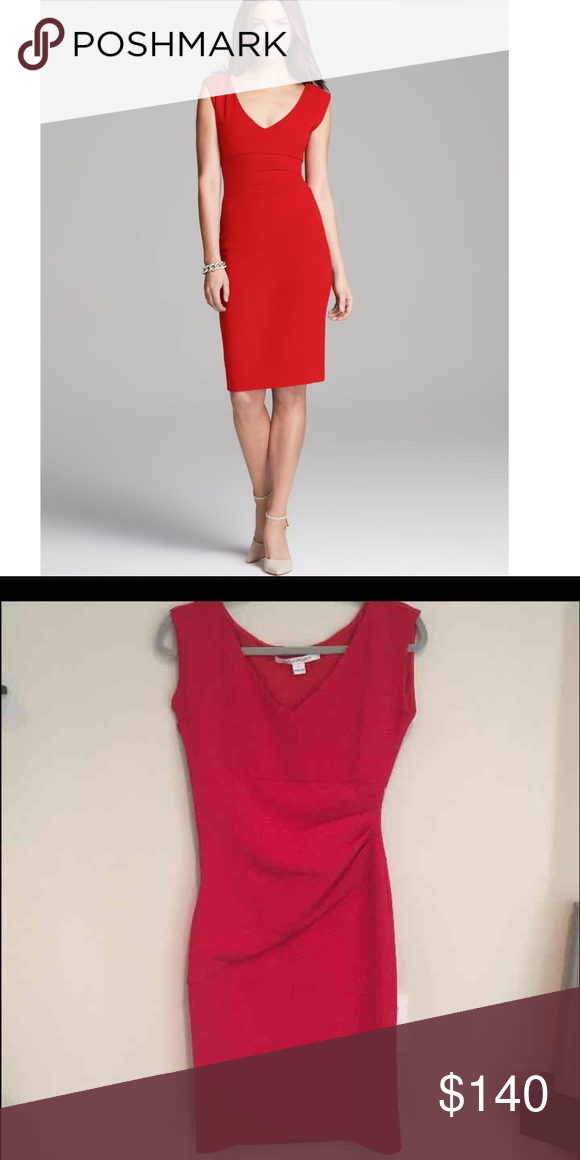 DVF red Bevin dress! Size 0 DVF dress, size 0. Side zipper. Worn a couple times to work. Just dry cleaned and no flaws! Perfect for holiday season. Less on ♏️ Diane von Furstenberg Dresses