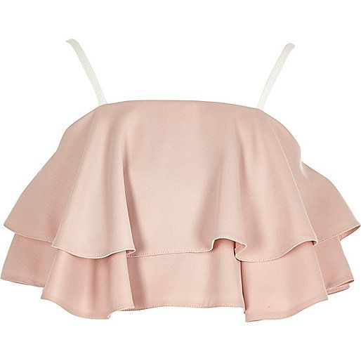 Girls pink double frill crop top - crop tops - tops - girls