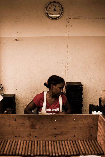 Handmade cigar production, process. Tabacalera de Garcia Factory. Casa de Campo, La Romana, Dominican Republic