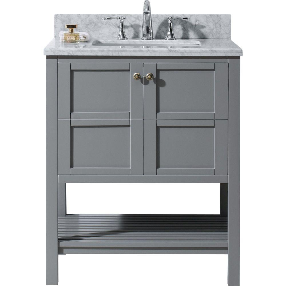 Virtu USA Winterfell 30 in. W x 22 in. D Vanity in Grey with