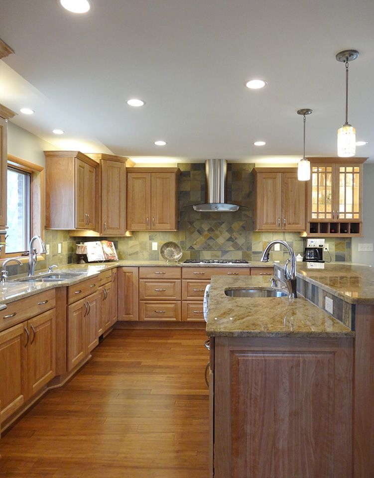 This Saline Kitchen Remodel Features Red Birch Cabinets (Cabico) And Slate  Backsplash. We