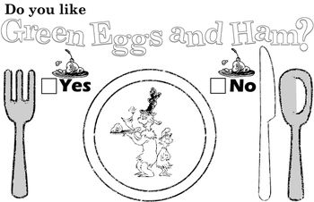 Dr Seuss Green Eggs And Ham Placemat Worksheet Headband Bundle