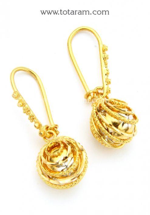 Gold Hoop Earrings Ear Bali in 22K Gold Totaram Jewelers Buy