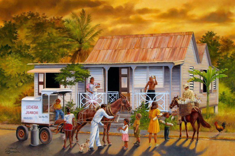 My dad's latest painting. Samuel Garcia.  Puerto Rico art.