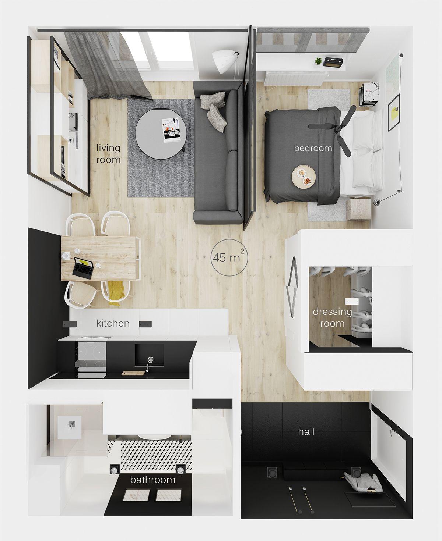 Zabki 45m2 On Behance Modern Studio Apartment Ideas Apartment