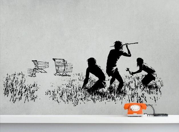 Best BANKSY HUNTERS XXL Wandtattoo streetart