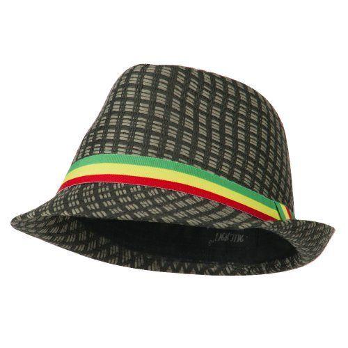 Solid Black Rasta Jamaican Inspired Reggae Fashion Unisex Fedora Hat ... 937e3add110d
