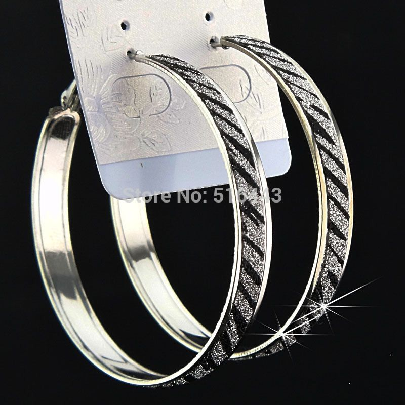 Promotions Freeshipping Fashion Hot Sale 12pairs Frosted Silver Zebra Pattern Women Hoop Earrings Wholesale Jewelry Lots A1062